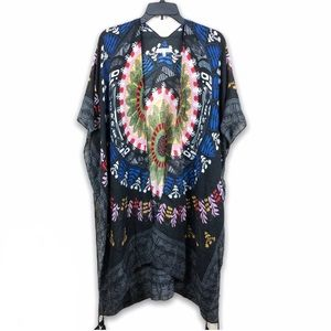 Woven Heart Tassel Wrap Kimono